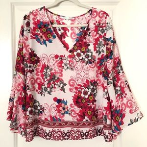 White Red Pink Floral Swirl Bell Sleeve Top Medium